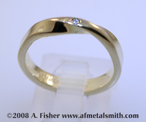 Gold Mobius Engagement Ring with Diamond
